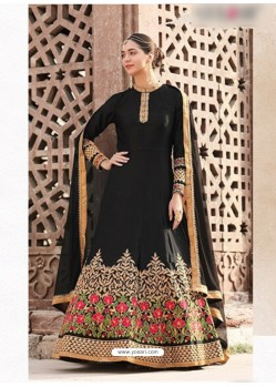 Black Embroidered Floor Length Suit