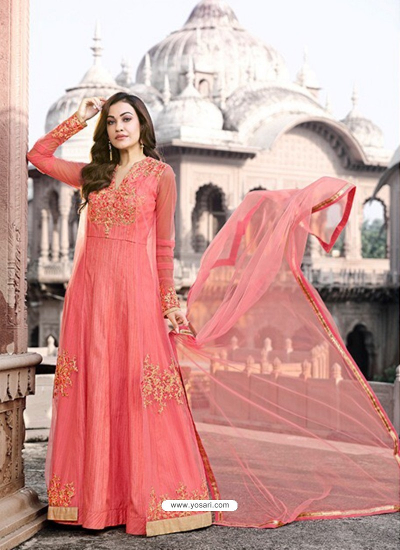 Peach Net Embroidered Floor Length Suit