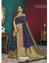 Blue Banarasi Silk Designer Saree