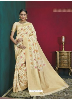 Cream Banarasi Silk Designer Saree