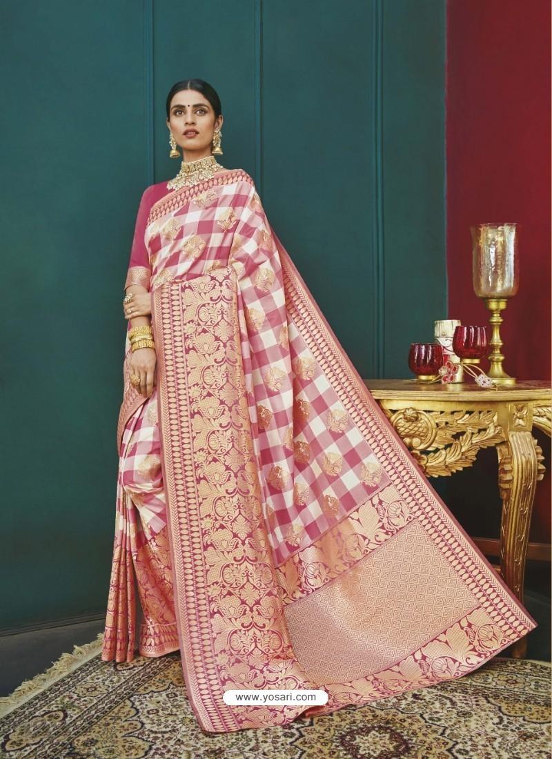 Pink Banarasi Silk Designer Saree