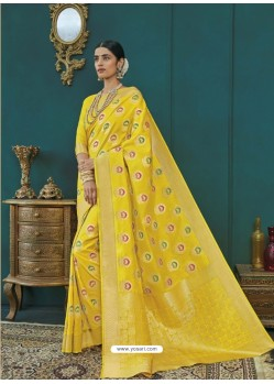 Lemon Banarasi Silk Designer Saree