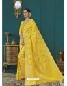 Lemon Banarasi Silk Designer Saree