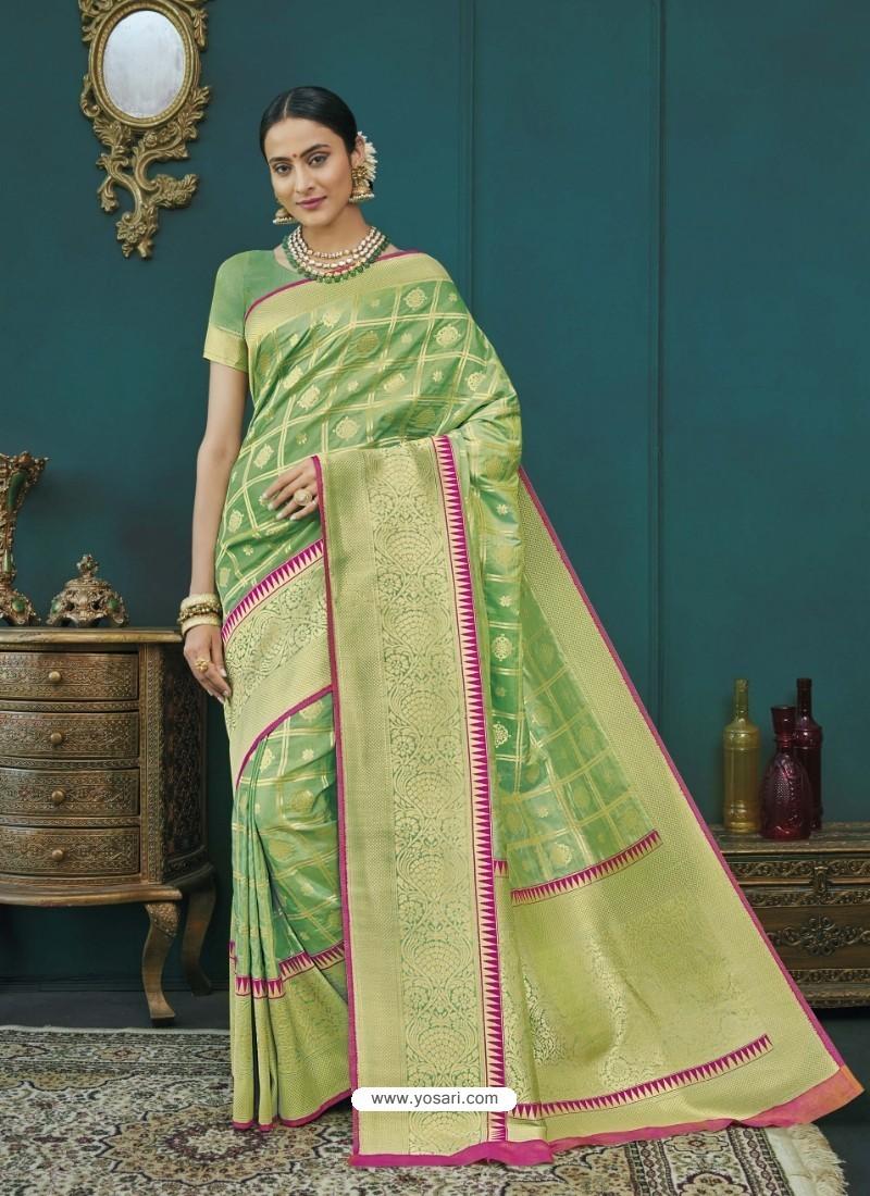 Parrot Green Banarasi Silk Designer Saree