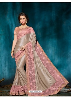 Splendid Dusty Pink Embroidered Saree