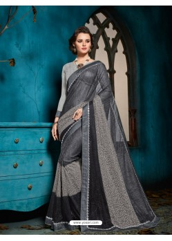 Glorious Carbon Embroidered Saree
