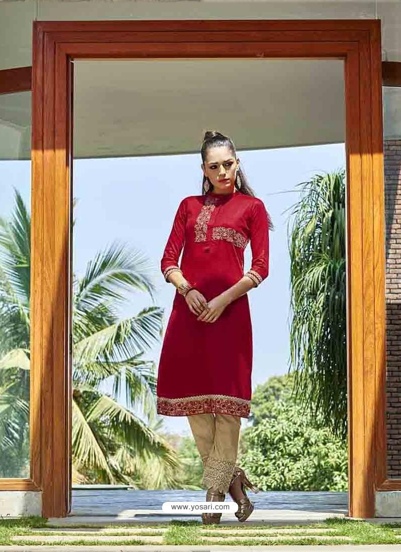 Red Color Printed Kurti