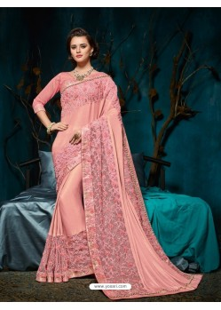 Magical Baby Pink Embroidered Saree