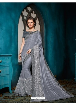 Flawless Grey Embroidered Saree