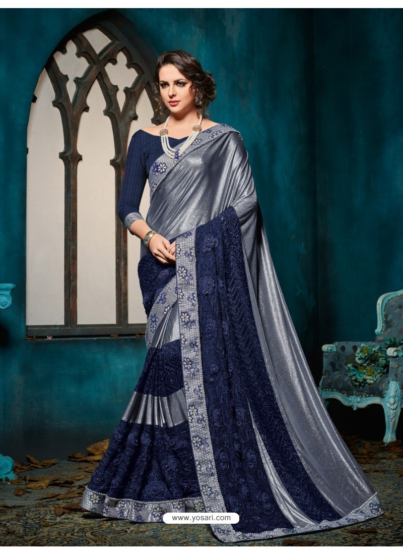 Competent Grey Embroidered Saree