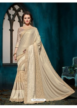Marvelous Cream Embroidered Saree