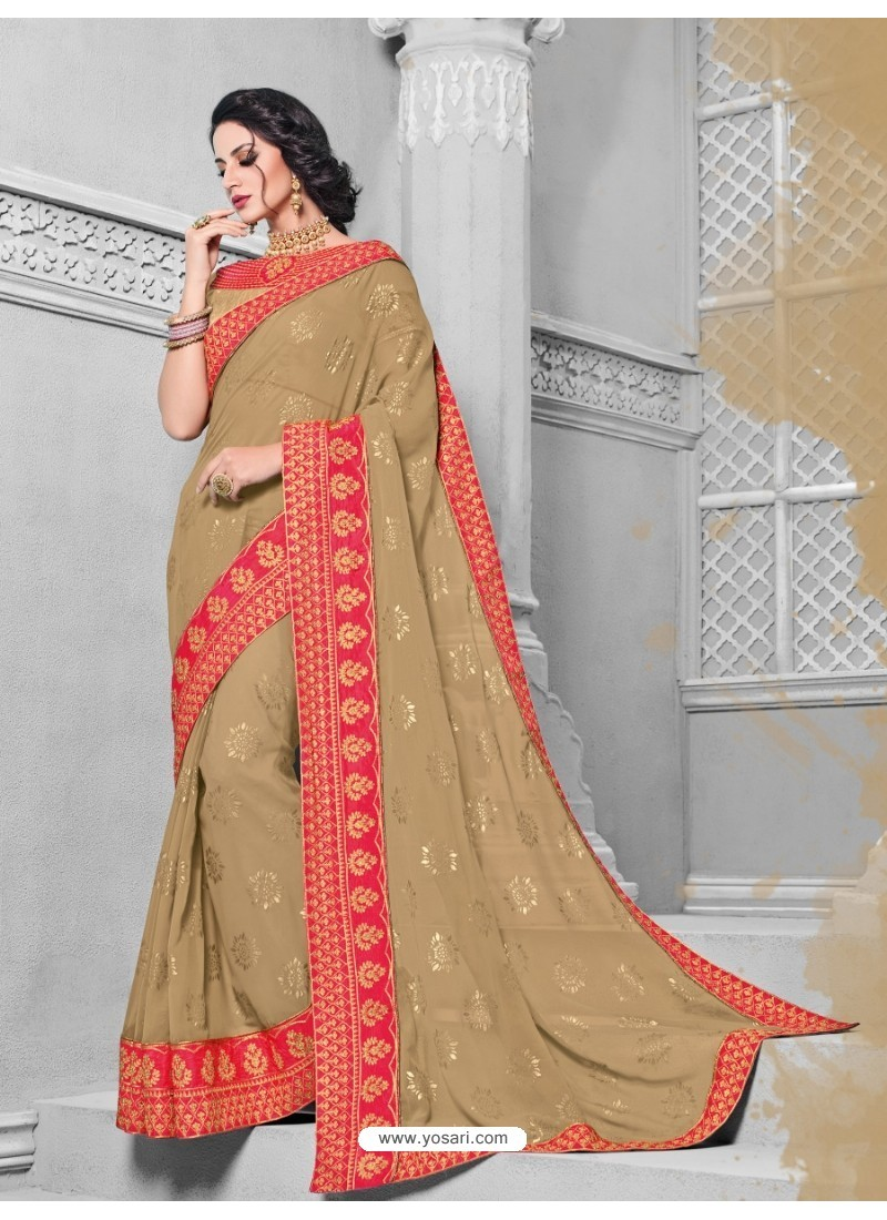 Gorgeous Camel Georgette Saree