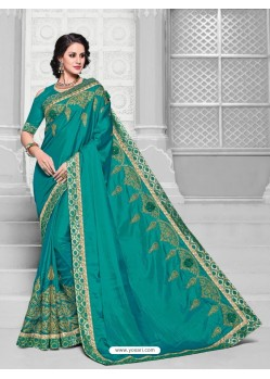 Mesmeric Teal Two Tone Silk Saree