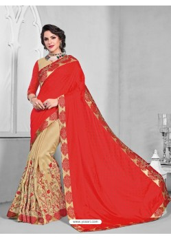 Magnificent Red Silk Saree