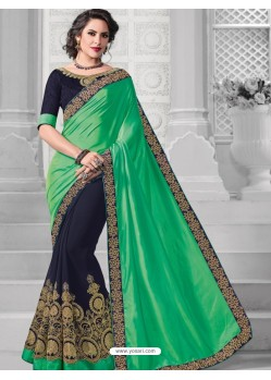 Glowing Green Georgette Saree