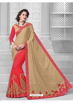 Radiant Peach Moss Chiffon Saree