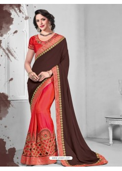 Exceptional Crimson Silk Saree