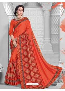 Deserving Red Two Tone Silk Saree