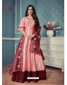 Peach Barfi Silk Embroidered Floor Length Suit