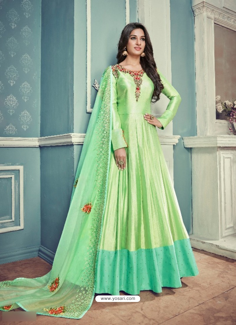 Parrot Green Barfi Silk Embroidered Floor Length Suit