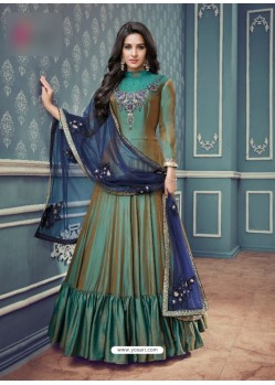 Teal Barfi Silk Embroidered Floor Length Suit