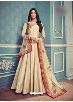 Cream Barfi Silk Embroidered Floor Length Suit