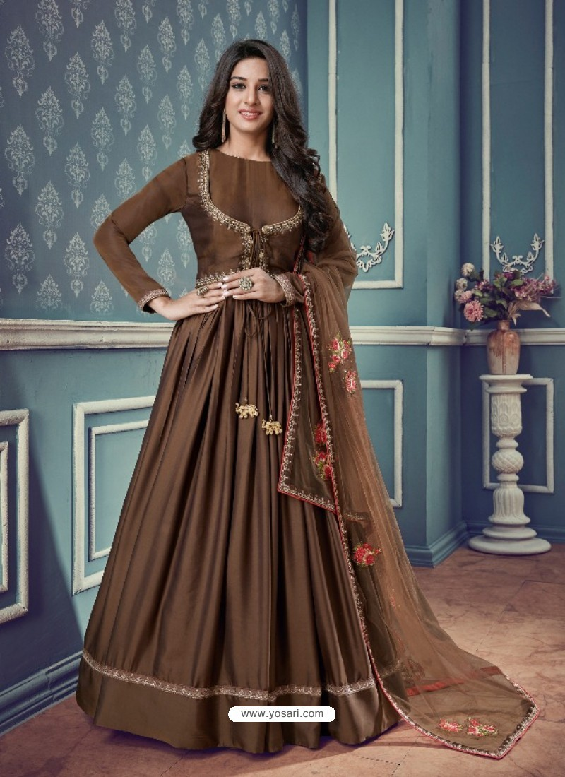 Brown Barfi Silk Embroidered Floor Length Suit
