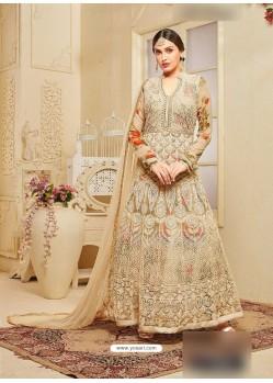 Beige Net Embroidered Floor Length Suit