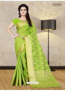 Parrot Green Banarasi Silk Woven Saree