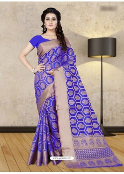 Royal Blue Banarasi Silk Woven Saree