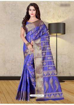 Blue Banarasi Silk Woven Saree