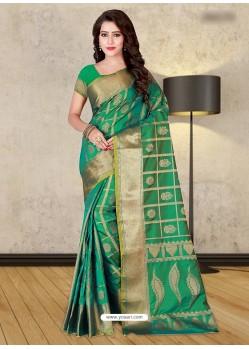 Aqua Mint Banarasi Silk Woven Saree
