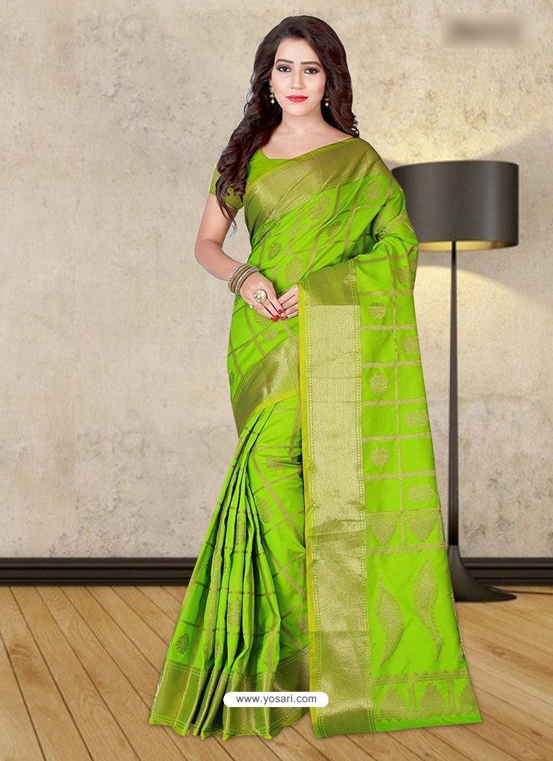 7db7ffd2c31f3e Buy Parrot Green Banarasi Silk Woven Saree