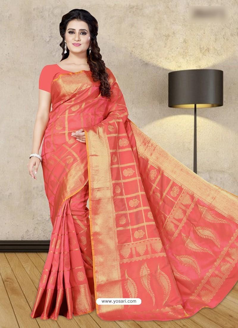 Peach Banarasi Silk Woven Saree