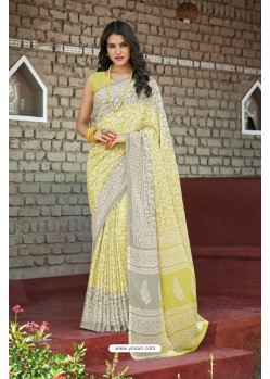 Lemon Moss Georgette Casual Saree