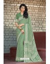 Jade Green Moss Georgette Casual Saree