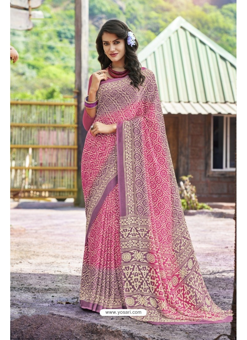 Pink Moss Georgette Casual Saree