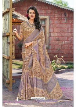 Beige Moss Georgette Casual Saree
