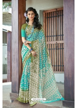 Aqua Mint Moss Georgette Casual Saree