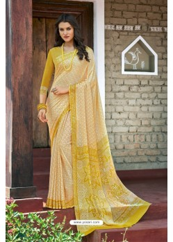Yellow Moss Georgette Casual Saree