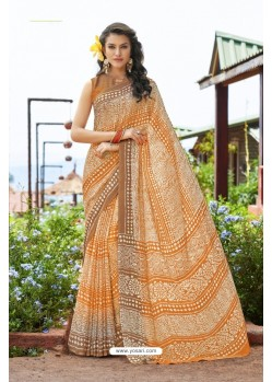 Orange Moss Georgette Casual Saree