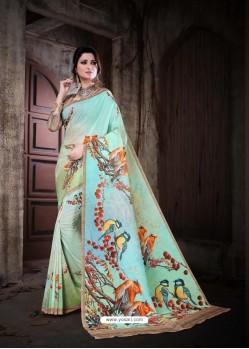 Sea Green Cotton Silk Saree