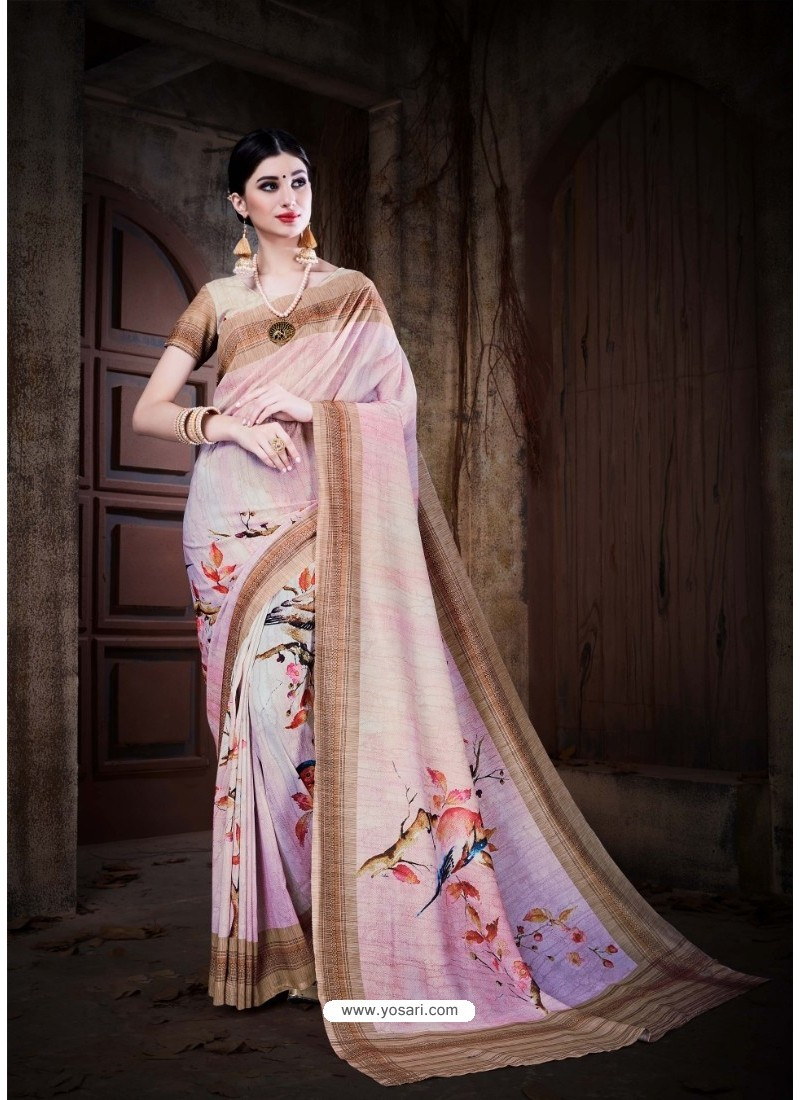 Baby Pink Cotton Silk Saree