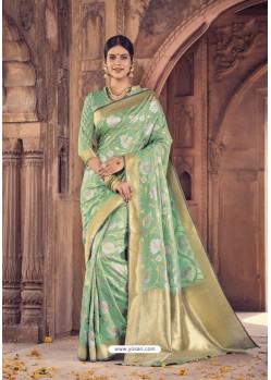 Jade Green Banarasi Silk Saree