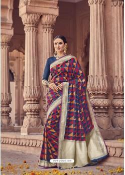 Multi Colour Banarasi Silk Saree
