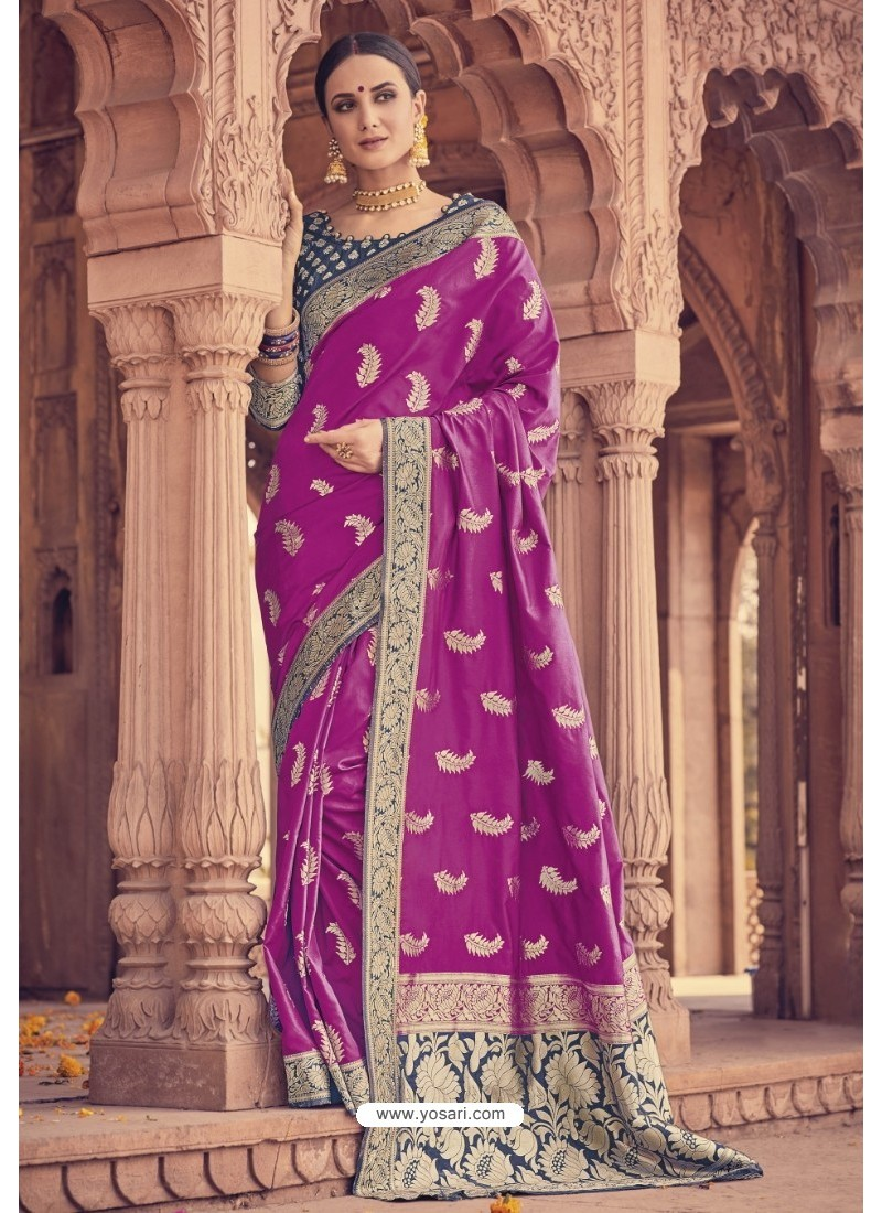 4e710d102a0061 Buy Purple Banarasi Silk Saree