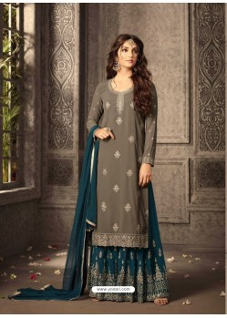 Olive Green Georgette Embroidered Suit