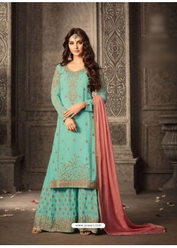 Aqua Mint Georgette Embroidered Suit