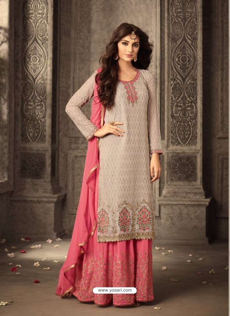 Pink Georgette Embroidered Suit