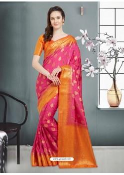 Awesome Fuchsia Banarasi Silk Saree